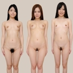 日本人女性が全裸で並んでいるヌード画像