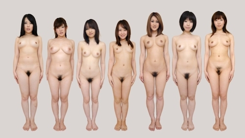 日本人女性が全裸で並んでいるヌード画像 1