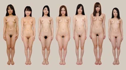 日本人女性が全裸で並んでいるヌード画像 5