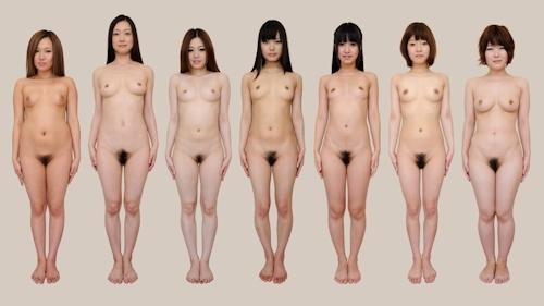 日本人女性が全裸で並んでいるヌード画像 6