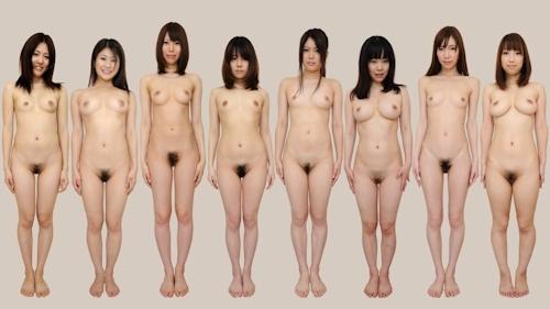 日本人女性が全裸で並んでいるヌード画像 7