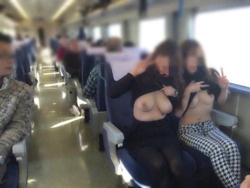 美乳女性が電車内でおっぱい露出してる画像 2