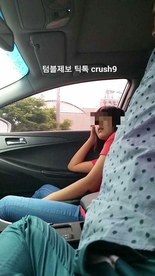 韓国素人女性のカーセックス画像 1