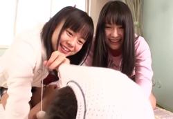 【ロリ痴女】妹2人と夢の逆3P痴女セックス!小林麻里 桃音まみる1